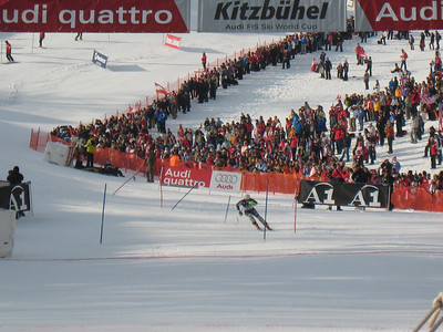 Ted Ligety reaches for the finish in the first run of slalom at Kitzbuehel (Doug Haney/U.S. Ski Team)