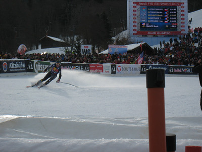 Kevin Francis peels into the finish to complete his first Hahnenkamm downhill in Kitzbuehel (Doug Haney/U.S. Ski Team)