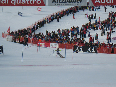 Cody Marshall smashes the last few gates in the first slalom run at Kitzbuehel (Doug Haney/U.S. Ski Team)