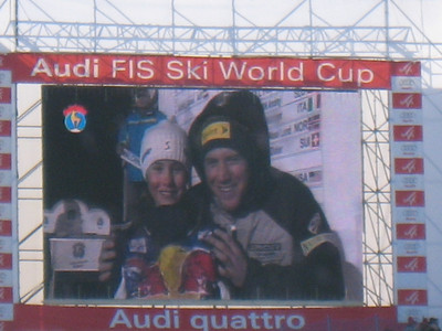 Marco Sullivan on the big screen from the downhill bib draw in Kitzbuehel (Doug Haney/U.S. Ski Team)
