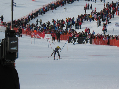 Paul McDonald leans across the finish line during the Kitzbuehel slalom (Doug Haney/U.S. Ski Team)