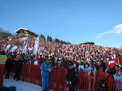 Thousands of fans flood the side of the race arena prior to the start of the men's slalom in Kitzbuehel (Doug Haney/U.S. Ski Team)