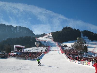 Fans go 100 deep along the fences at the Hahnenkamm downhill at Kitzbuehel (Doug Haney/U.S. Ski Team)
