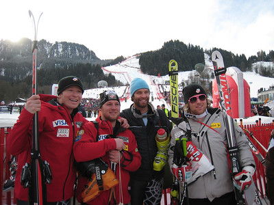 (l-r) Kevin Francis, Andrew Weibrecht, Bryon Friedman and Erik Fisher pose for a shot in the Kitzbuehel finish area following the famed Hahnenkamm downhill (Doug Haney/U.S. Ski Team)