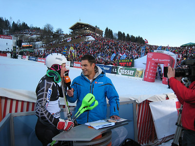 Ted Ligety interviews with German television 2DF after pulling a spread eagle in the slalom at Kitzbuehel (Doug Haney/U.S. Ski Team)