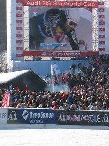 Erik Fisher rips out of the start on the Hahnenkamm big screen in Kitzbuehel. Fisher finished 11th during his first trip to the grand daddy of downhills (Doug Haney/U.S. Ski Team)