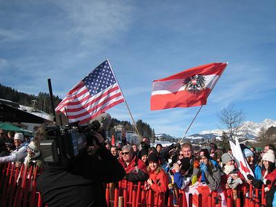 Fans fly the American flag in Kitzbuehel (Doug Haney/U.S. Ski Team)