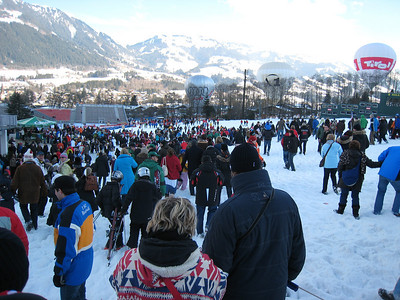 Fans pour out of the Kitzbuehel finish following the men's slalom which closed the weekend (Doug Haney/U.S. Ski Team)