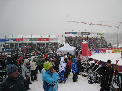 Fans pack the base area at the Aspen Winternational. Photo: Doug Haney/U.S. Ski Team