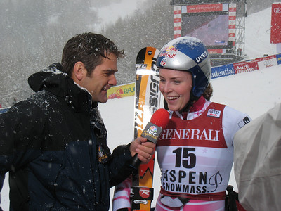 Steve Porino of NBC interviews World Cup leader Lindsey Vonn after the giant slalom at the Aspen Winternational. Photo: Doug Haney/U.S. Ski Team