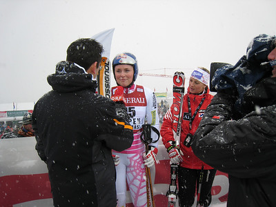 Austrian television ORF interviews Lindsey Vonn at the Aspen Winternational. Photo: Doug Haney/U.S. Ski Team