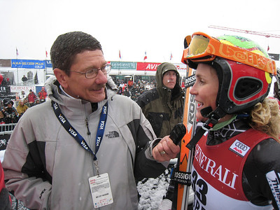 Denver Post ski journalist John Meyer interviews Sarah Schleper following the giant slalom at the Aspen Winternational. Photo: Doug Haney/U.S. Ski Team