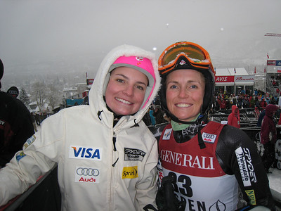 Megan McJames (left) and Sarah Schleper after the giant slalom of the Aspen Winternational. Photo: Doug Haney/U.S. Ski Team