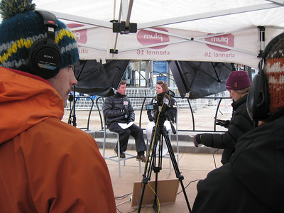 Sterling Grant interviews with Plum TV in Aspen prior to the start of the giant slalom at the Aspen Winternational. Photo: Doug Haney/U.S. Ski Team