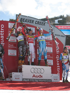 (l-r) Ted Ligety, Benni Raich and Aksel Lund Svindal on the podium for giant slalom at Beaver Creek, CO. Photo: Doug Haney/U.S. Ski Team