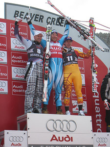 (l-r) Marco Buechel, Aksel Lund Svindal and Erik Guay on the podium for downhill in Beaver Creek, CO. Photo: Doug Haney/U.S. Ski Team