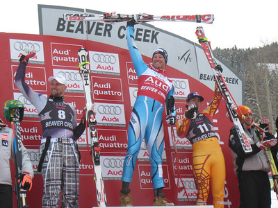 Aksel Lund Svindal celebrates a victory in Beaver Creek after a season ending crash at the Birds of Prey race last season. Photo: Doug Haney/U.S. Ski Team