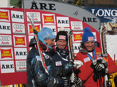 The men's super G podium (l-r) Aksel Lund Svindal, Werner Heel and Christof Innerhofer (Doug Haney/U.S. Ski Team)