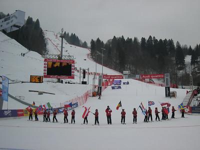 Local ski club kids with the parade of flags prior to the women's slalom in Garmisch (Doug Haney/U.S. Ski Team)