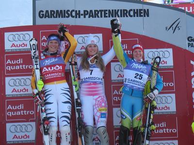 The women's podium in Garmisch (l-r) Maria Riesch of Germany, Lindsey Vonn and Marusa Ferk of Slovenia (Doug Haney/U.S. Ski Team)