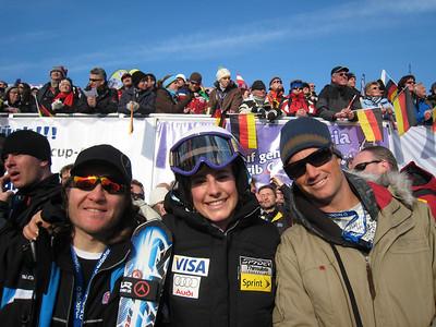 Team Stiegler: (l-r) Resi's Dynastar technician Marco Zambelli, Resi Stiegler and boyfriend Kevin Pritchard in the finish area at Garmisch Lindsey Vonn heads to the podium after winning the slalom in Garmisch for her 17th career World Cup win  (Doug Haney/U.S. Ski Team)