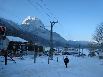 A train rolls by the super G finish in Garmisch (Doug Haney/U.S. Ski Team)