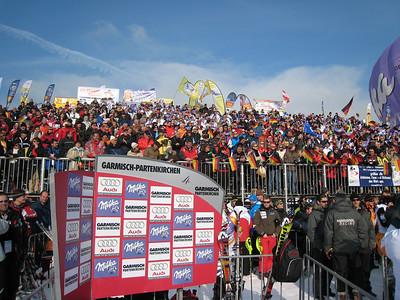 Fans stuff the stands at Garmisch for the women's slalom  (Doug Haney/U.S. Ski Team)