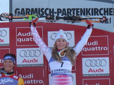 Lindsey Vonn holds her Rossignols high after winning the slalom in Garmisch  (Doug Haney/U.S. Ski Team)