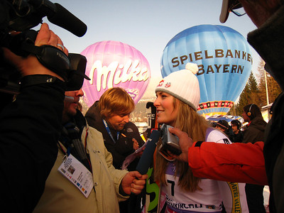 Lindsey Vonn interviews with journalist after her slalom victory in Garmisch  (Doug Haney/U.S. Ski Team)