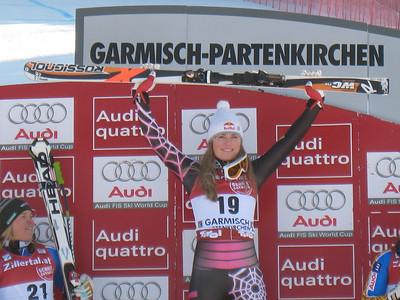 Lindsey Vonn wins the super G in Garmisch to tie Tamara McKinney for the most female World Cup victories in American history with 18 (Doug Haney/U.S. Ski Team)