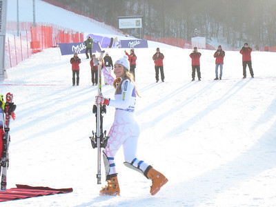 Lindsey Vonn heads to the podium after winning the slalom in Garmisch for her 17th career World Cup win  (Doug Haney/U.S. Ski Team)