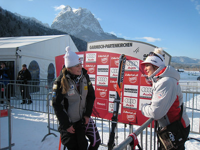 Lindsey Vonn chats with Austrian Nicole Hosp after winning the super G in Garmisch, her 18th World Cup victory (Doug Haney/U.S. Ski Team)