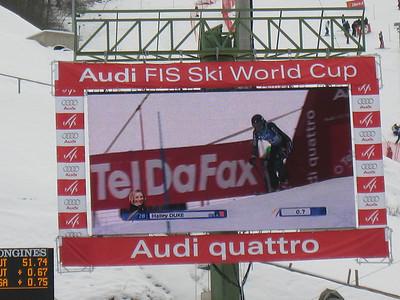 Hailey Duke bursts out of the start gate to finish eighth in the first slalom run at Garmisch (Doug Haney/U.S. Ski Team)