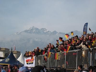 Fans pack the stands for the women's slalom in Garmisch (Doug Haney/U.S. Ski Team)