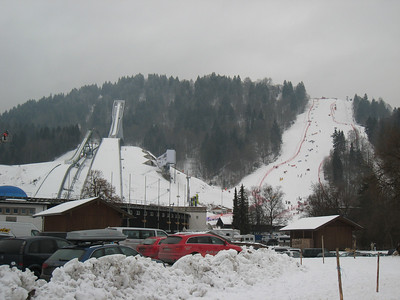 The slalom venue in Garmisch directly next to the ski jumps (Doug Haney/U.S. Ski Team)