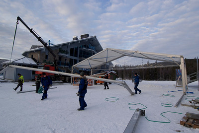 Workers prepare the tents near the finish area for the opening World Cup slalom at Levi, Finland,  Photo © Laplandfoto.com/Paul Palmer For editorial use only, contact paul.palmer@laplandfoto.com for other use.