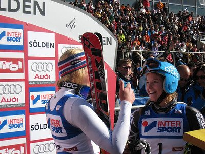 Olympic gold medalist Julia Mancuso chats with British skier Chemmy Alcott in the leaders box at Soelden.   2009 Audi FIS Alpine World Cup Solden, Austria Photo: Doug Haney/U.S. Ski Team