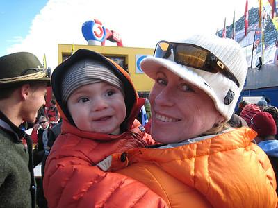 Young Lasse Schleper helps his grandmother cheer his mom Sarah Schleper during her return to World Cup racing at Soelden.   2009 Audi FIS Alpine World Cup Solden, Austria Photo: Doug Haney/U.S. Ski Team