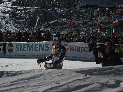 Tim Jitloff reacts to his time after a scorching second run in Soelden securing his first World Cup top 30 (Doug Haney/USSA)