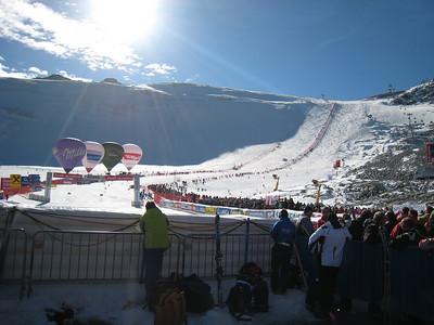The sun illuminates the Rettenbach glacier on race day in Soelden.   2009 Audi FIS Alpine World Cup Solden, Austria Photo: Doug Haney/U.S. Ski Team