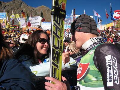 Tim Jitloff goes on record with Ski Racing editor Lara Rosenbaum after finishing 20th in Soelden for his first World Cup points.   2009 Audi FIS Alpine World Cup Solden, Austria Photo: Doug Haney/U.S. Ski Team