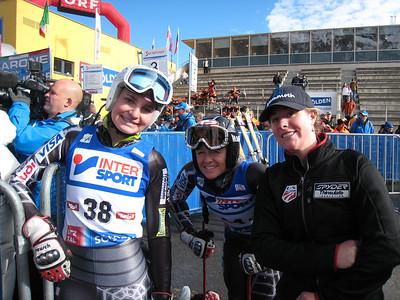 (l-r) Megan McJames, Jessica Kelley and Stacey Cook after the first run on giant slalom in Soelden.   2009 Audi FIS Alpine World Cup Solden, Austria Photo: Doug Haney/U.S. Ski Team
