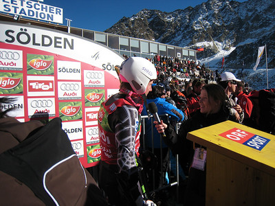 Ted Ligety interviews in the finish sporting the new Shred helmet.   2009 Audi FIS Alpine World Cup Solden, Austria Photo: Doug Haney/U.S. Ski Team