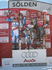 (l-r) Swiss skiers Didier Cuche, Daniel Albrecht and reigning World Cup giant slalom champion Ted Ligety of the U.S. Ski Team on the podium in Soelden.   2009 Audi FIS Alpine World Cup Solden, Austria Photo: Doug Haney/U.S. Ski Team