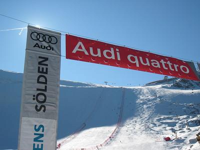 The finish line banner in Soelden hangs below the Rettenback glacier in Soelden.   2009 Audi FIS Alpine World Cup Solden, Austria Photo: Doug Haney/U.S. Ski Team