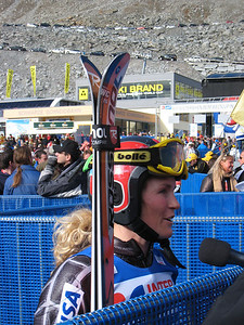 Sarah Schleper interviews with media in the finish area at Soelden after her return to World Cup racing.   2009 Audi FIS Alpine World Cup Solden, Austria Photo: Doug Haney/U.S. Ski Team