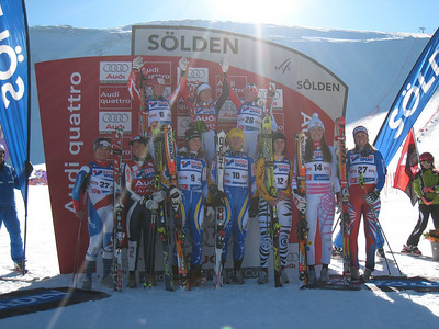 The women's giant slalom podium with ninth place finisher Lindsey Vonn (No. 14) in Soelden.   2009 Audi FIS Alpine World Cup Solden, Austria Photo: Doug Haney/U.S. Ski Team