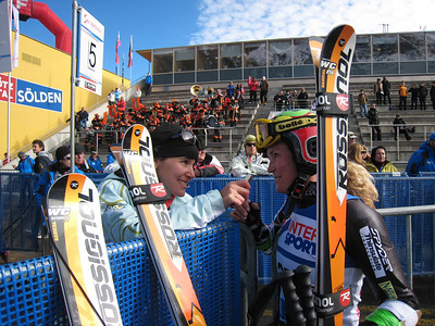 Sarah Schleper chats with Ski Racing editor Lara Rosenbaum after finishing her first World Cup race in two years.   2009 Audi FIS Alpine World Cup Solden, Austria Photo: Doug Haney/U.S. Ski Team