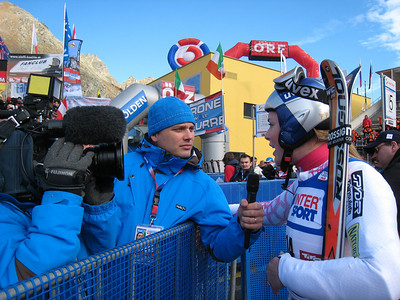 Lindsey Vonn in the finish area at Soelden after finishing ninth in her first race of the 2009 season.   2009 Audi FIS Alpine World Cup Solden, Austria Photo: Doug Haney/U.S. Ski Team