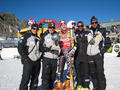(l-r)Pete Korfiatis, Sasha Rearick, Ted Ligety, Josh Applegate and Rudi Soulard after Ligety took third in the opening World Cup giant slalom in Soelden.   2009 Audi FIS Alpine World Cup Solden, Austria Photo: Doug Haney/U.S. Ski Team